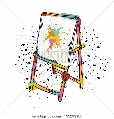 Vector illustration of an easel for drawing. It can be used as poster postcard invitation. School of the arts. Vector illustration