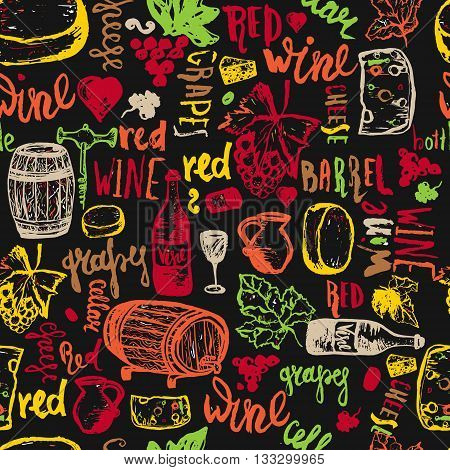 Wine seamless Hand drawn seamless pattern. Vector illustration. Wine signs - bottle, glass, grape, grape leaf, cheese. Can be used for wrapping, banners