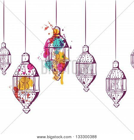Vector Seamless Horizontal Background With Hand Drawn Watercolor Lanterns. Design Concept For Muslim