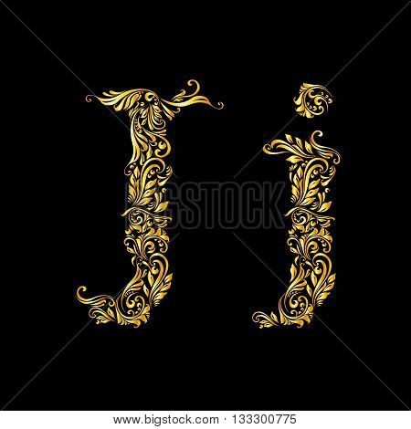 Richly decorated letter 'j' in upper and lower case.