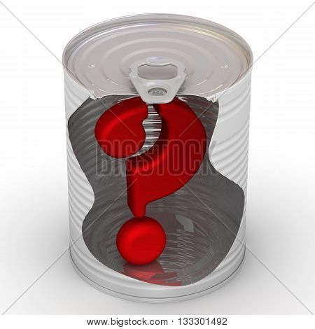 Question symbol in a tin. Red symbol of the question in a tin. Isolated. 3D Illustration