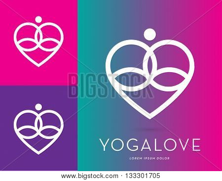A LINE ABSTRACT SILHOUETTE , IN MEDITATION POSITION INCORPORATED WITH A HEART , VECTOR ICON / LOGO