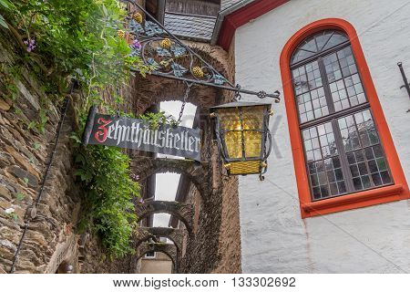 Beilstein Germany - July 19 2015: Street view near Zehnthauskeller Bar in Beilstein on river Mosel Germany. Beilsitein is a beautiful traditional village on the Mosel river.