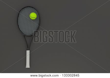 3D rendering of tennis ball and racket grey background