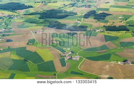 Aerial Of Rural Area Near Airport Munich In The Erdinger Moos