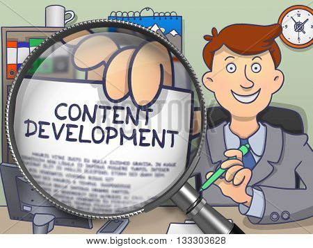 Content Development on Paper in Business Man's Hand to Illustrate a Business Concept. Closeup View through Magnifying Glass. Multicolor Modern Line Illustration in Doodle Style.