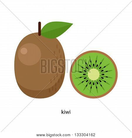 Kiwi fruit with green leaf and its transverse section