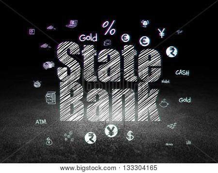 Money concept: Glowing text State Bank,  Hand Drawn Finance Icons in grunge dark room with Dirty Floor, black background