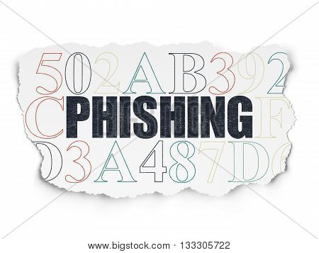 Safety concept: Painted black text Phishing on Torn Paper background with  Hexadecimal Code