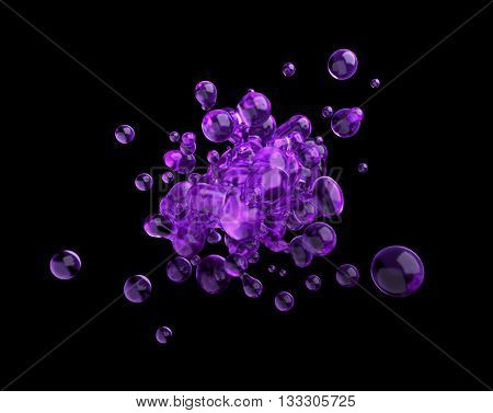 Abstract 3d rendering of chaotic purple liquid in empty space. Background with dynamic fluid splash. Design element.