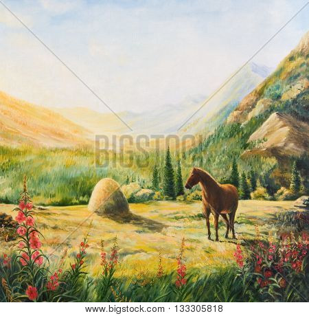 Mountain landscape with horse. Oil painting on canvas