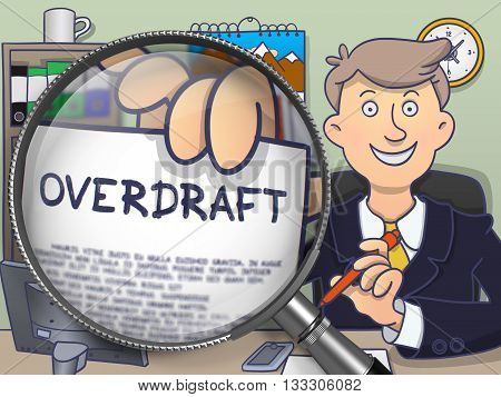 Overdraft through Magnifying Glass. Business Man Holding a Paper with Concept. Closeup View. Multicolor Modern Line Illustration in Doodle Style.