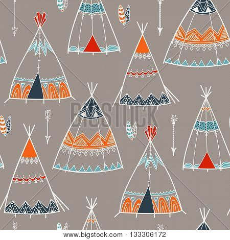 Creative boho style pattern with ethnic arrows, teepee or wigwam, Stylish hand drawn vector illustration.