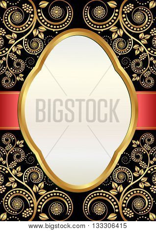 vintage background with decorative frame and ornaments