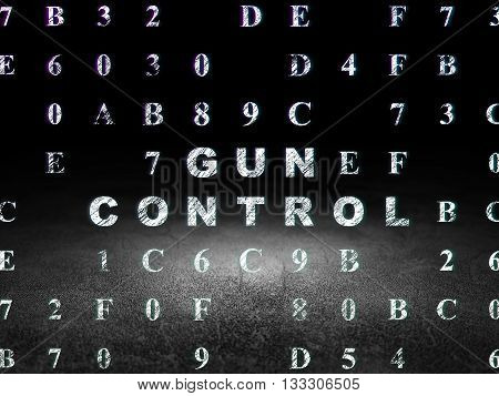 Safety concept: Glowing text Gun Control in grunge dark room with Dirty Floor, black background with Hexadecimal Code
