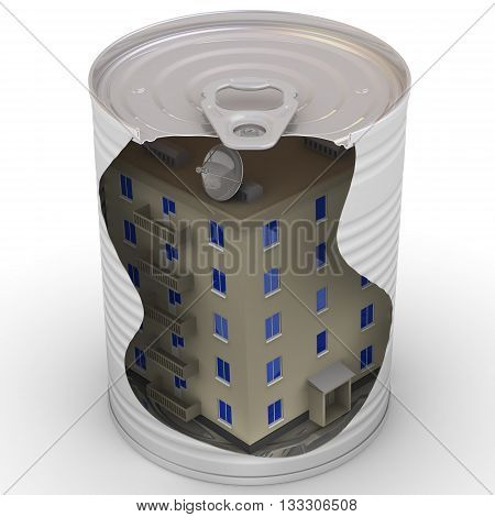 Canned apartment building. Apartment house in a tin. Isolated. 3D Illustration