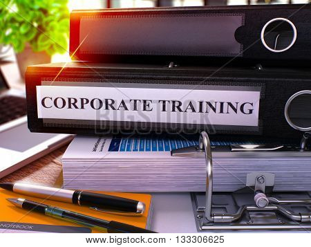 Black Office Folder with Inscription Corporate Training on Office Desktop with Office Supplies and Modern Laptop. Corporate Training Business Concept on Blurred Background. 3D Render.