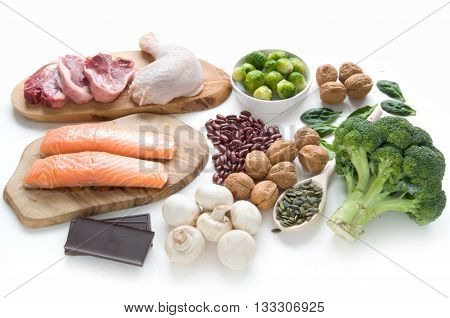 Foods sources for iron including meat fish pulses and seeds
