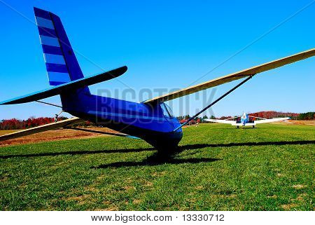 sailplane on grass runway