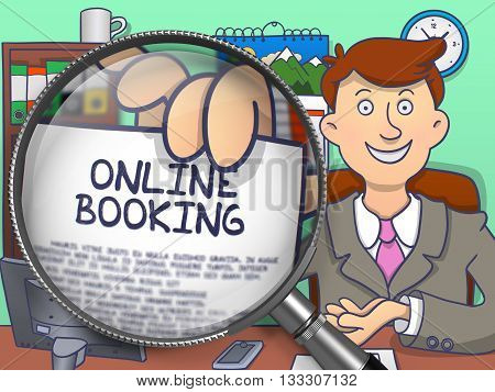 Online Booking. Cheerful Businessman Sitting in Office and Showing a Paper with Concept through Lens. Multicolor Doodle Illustration.