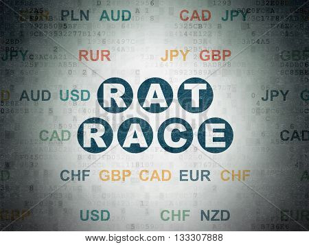 Business concept: Painted blue text Rat Race on Digital Data Paper background with Currency