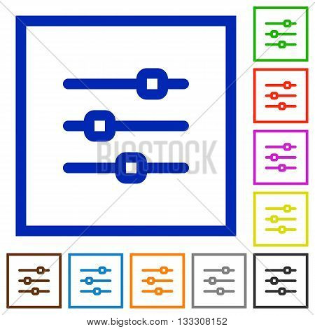 Set of color square framed horizontal adjustment flat icons