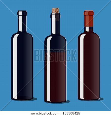 An empty bottle uncorked a bottle of wine a bottle of wine closed