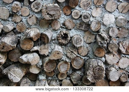 Logs and mud wall of an old house
