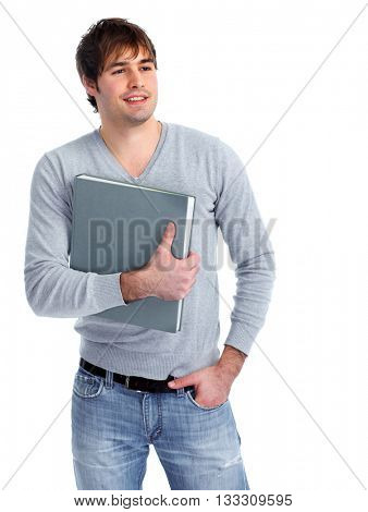 Young student man with a book.