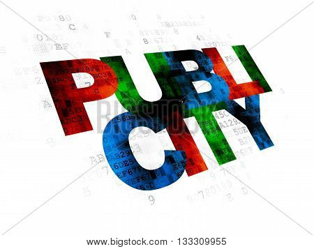 Marketing concept: Pixelated multicolor text Publicity on Digital background