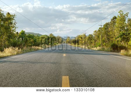 panoramic view of hot summer road with green trees around