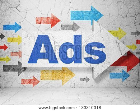 Marketing concept:  arrow with Ads on grunge textured concrete wall background, 3D rendering
