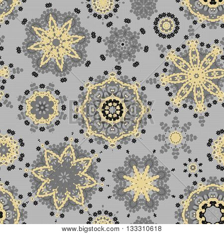 Ethnic pattern in gray gold color with stylized flowers, leaves and circular shapes with Kazakh, Turkish, Uzbek motifs Seamless vector texture for print, spring summer fashion, fabric, textile