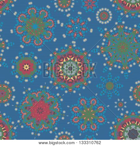 Ethnic pattern in blue red greencolor with stylized flowers, leaves and circular shapes with Kazakh, Turkish, Uzbek motifs Seamless vector texture for print, spring summer fashion, fabric, textile