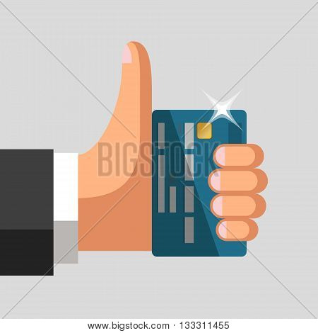 Plastic bank cards in hand of businessman. Thumb up gesture. Profitable card concept