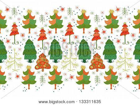 Christmas pattern - varied Xmas trees and snowflakes.