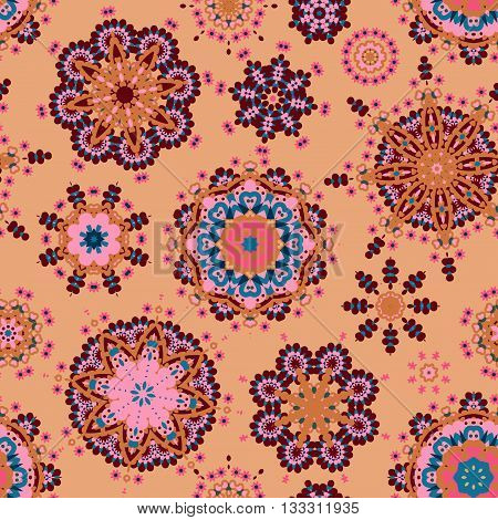 Ethnic pattern in pastel color with stylized flowers, leaves and circular shapes with Kazakh, Turkish, Uzbek motifs Seamless vector texture for print, spring summer fashion, fabric, textile