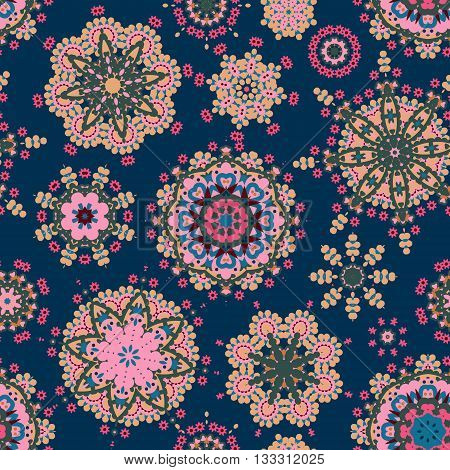 Ethnic pattern in blue pink greencolor with stylized flowers, leaves and circular shapes with Kazakh, Turkish, Uzbek motifs Seamless vector texture for print, spring summer fashion, fabric, textile