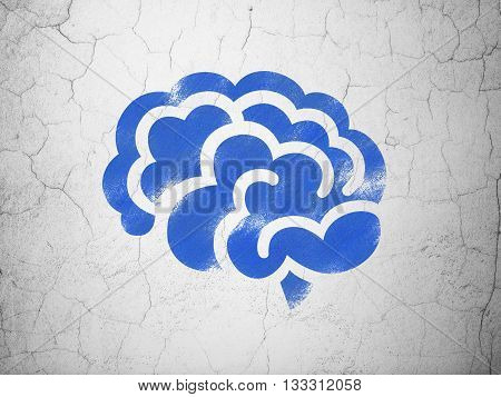 Science concept: Blue Brain on textured concrete wall background