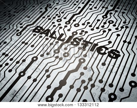 Science concept: circuit board with  word Ballistics, 3D rendering