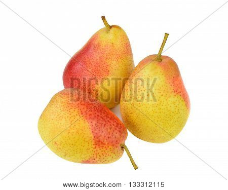 yellow red pears isolated on white background. Forella cultivar