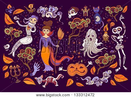 Set of Halloween elements. Beautiful wallpaper with cartoon characters. Collection with witch, cat, mummy, clouds, skeleton, storm, ghost, pumpkin, candle holders,