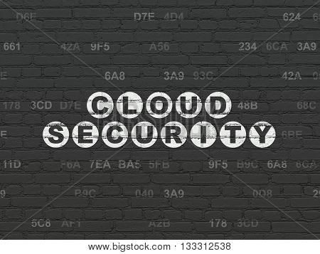 Cloud technology concept: Painted white text Cloud Security on Black Brick wall background with Hexadecimal Code