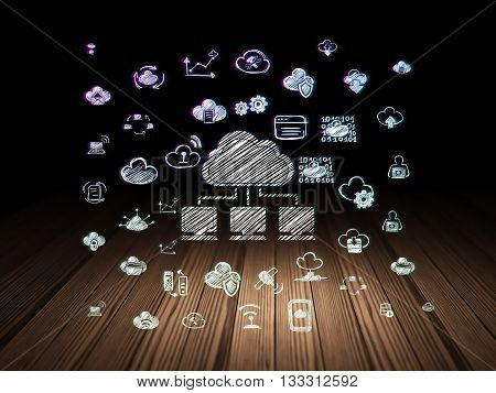 Cloud computing concept: Glowing Cloud Network icon in grunge dark room with Wooden Floor, black background with  Hand Drawn Cloud Technology Icons