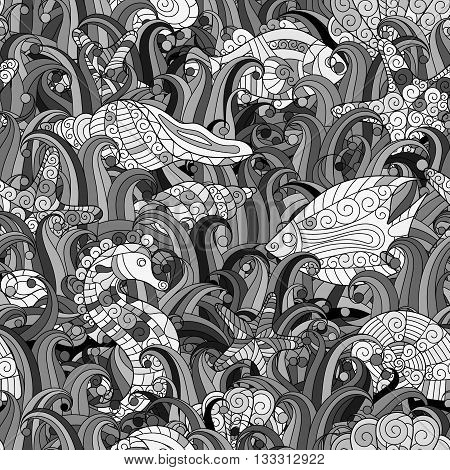 Vector seamless pattern with hand drawn fishes, starfish, shells, seaweeds and sea-horse. Underwater creatures. Ocean background. Tropical sea life design.