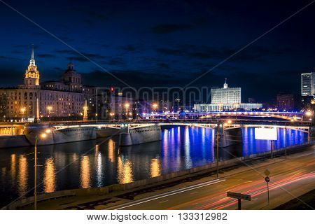 The House of the Government of the Russian Federation from the Moscow River at night