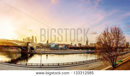 Moscow River and a pedestrian bridge near Kiev Railway Station in Moscow, Russia