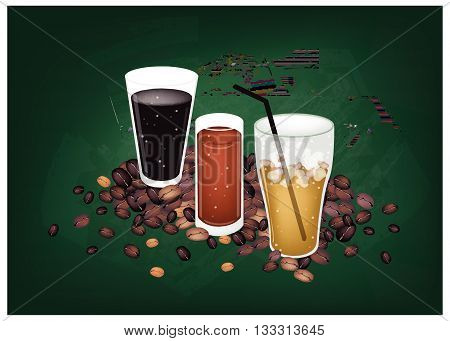 Coffee Time Iced Coffee and Iced Tea on Dusty Green Chalkboard Background..