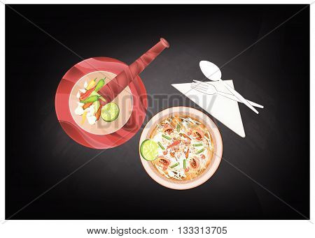 Cuisine and Food Green Papaya Salad with Dried Shrimps on Black Chalkboard. One of The Most Popular Dish in Thailand.