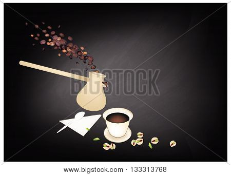 Turkish Cuisine Turkish Coffee with Cezve or Turkish Coffee Pot on Chalkboard. One of The Popular Drink in Turkey.